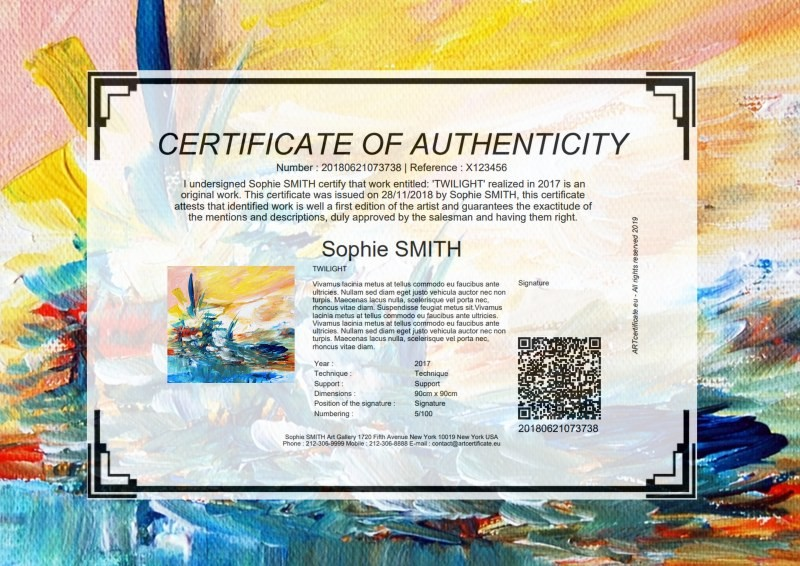Certificate of authenticity for artistwork