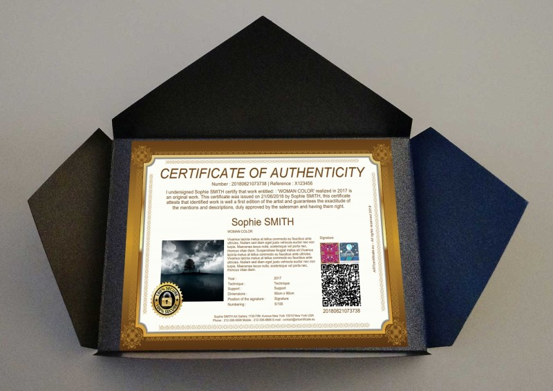 Certificate of authenticity for artwork